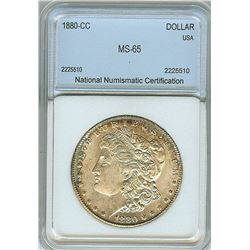 1880-CC MORGAN SILVER DOLLAR  NNC MS65