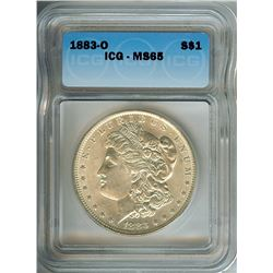 1883-O MORGAN SILVER DOLLAR  ICG MS65