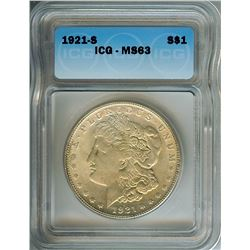 1921-S MORGAN SILVER DOLLAR  ICG MS63