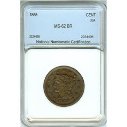 1855 BRAIDED HAIR LARGE CENT  NNC MS-62 BROWN