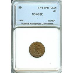 1864 CIVIL WAR TOKEN - CAPPED LIBERTY HEAD / SHIELD - NNC MS-65 BROWN
