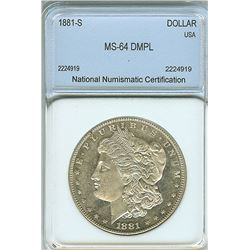 1881-S MORGAN SILVER DOLLAR  NNC MS-64 DEEP MIRROR PROOF LIKE