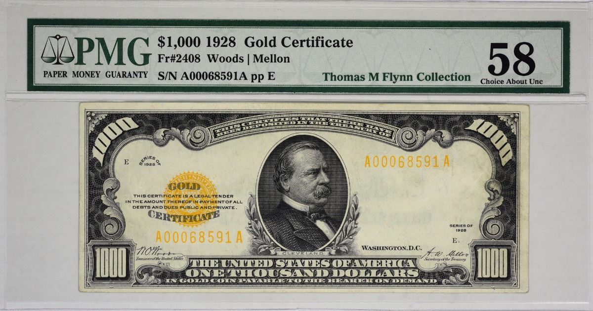 Fr. 2408. 1928 $1,000 Gold Certificate. PMG Choice About ...
