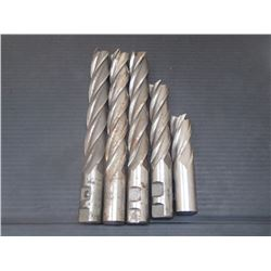 "1"" Extended HSS End Mills, 1"" Shanks, 5 Total"