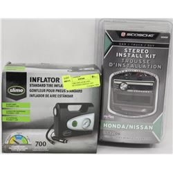 SLIME TIRE INFLATOR AND SCOSCHE STEREO INSTALL KIT