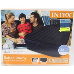 INTEX QUEEN ARAISED DOWNY AIR MATTRESS WITH