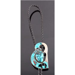 Navajo Sterling Silver Turquoise Inlay Bolo Tie