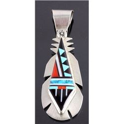 Zuni Sterling Silver Turquoise Inlay Pendant