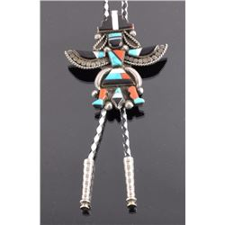 Zuni Sterling Silver Turquoise Kachina Bolo Tie