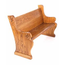 Quarter Sawn Oak Pew with Carvings Early 1900