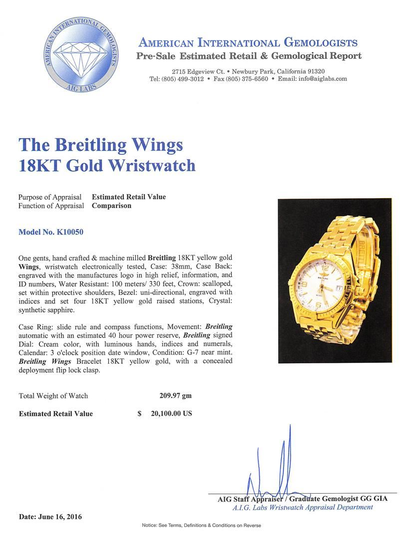 Breitling 18KT Yellow Gold Wings Men\'s Watch - Come To The Auction