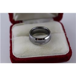 MENS TITANIUM BAND RING, 8MM WIDE, BRUSHED FINISH, COMFORT FIT, $225 CERTIFICATE