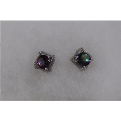 NEW MYSTIC & WHITE TOPAZ STUD EARRINGS. ROUND CUT. STERLING SILVER