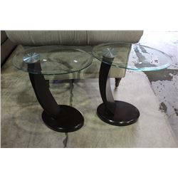PAIR OF BEVELLED GLASS END TABLES