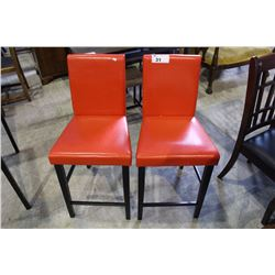 PAIR OF RED LEATHER BARSTOOLS