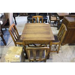 OAK DRAW LEAF TABLE AND 4 CHAIRS
