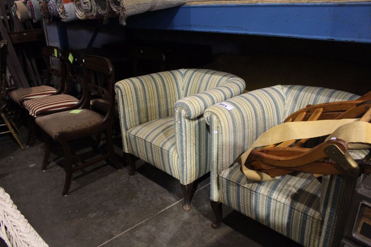 Vintage Furniture Including Sofa 2 Tub Chairs Folding Chair 4 Dining Chairs Table And