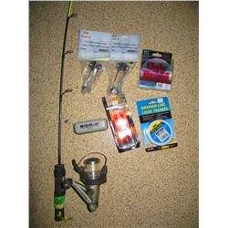 3 BOXES WITH ASSORTED SAFETY GLASSES, FISHING ROD & REEL, FISHING SUPPLIES, ETC.