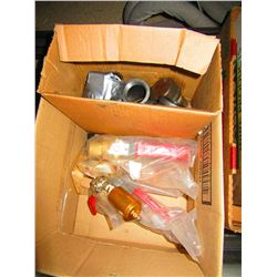 BOX WITH ASSORTED VALVES & FITTINGS