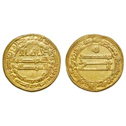 ABBASID: Al-Ma'mun (810-833), AV Dinar (4.16g), Misr (Egypt), AH 215. Early post-reform type. A-222A
