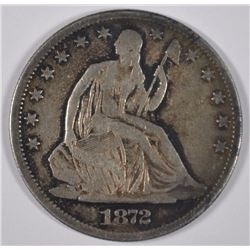 1872-CC LIBERTY SEATED HALF DOLLAR VF