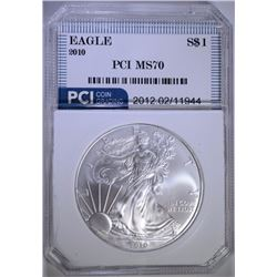 2010 AMERICAN SILVER EAGLE DOLLAR PCI GRADED PERFECT GEM BU