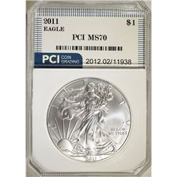 2011 AMERICAN SILVER EAGLE DOLLAR PCI GRADED PERFECT GEM BU