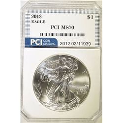 2012 AMERICAN SILVER EAGLE DOLLAR PCI GRADED PERFECT GEM BU