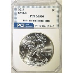 2013 AMERICAN SILVER EAGLE DOLLAR PCI GRADED PERFECT GEM BU