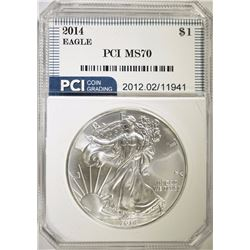 2014 AMERICAN SILVER EAGLE DOLLAR PCI GRADED PERFECT GEM BU