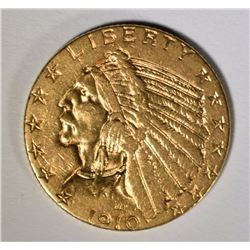 1910-S $5 INDIAN HEAD GOLD - NICE BU - RARE