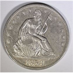 1858 SEATED LIBERTY HALF DOLLAR AU/BU