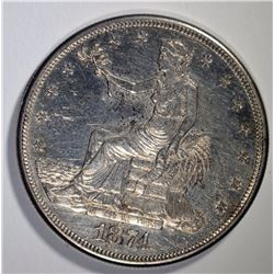 1874-S TRADE DOLLAR, AU/BU PROOF-LIKE