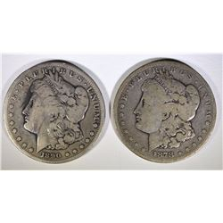 1878-CC & 1890-CC MORGAN SILVER DOLLARS, GOOD