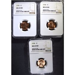 (3) 1938 LINCOLN CENTS NGC MS-65 RD