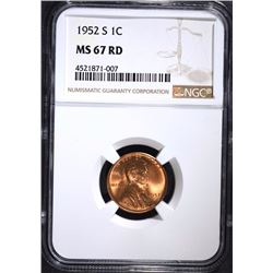 1952-S LINCOLN CENT, NGC  MS-67 RED  NGC PRICE GUIDE=$650.00