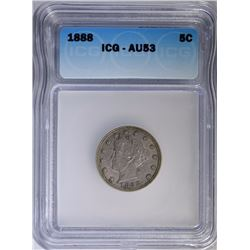 1888 LIBERTY NICKEL, ICG AU-53