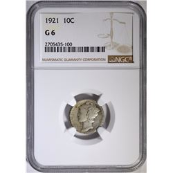 1921 MERCURY DIME, NGC GOOD-6
