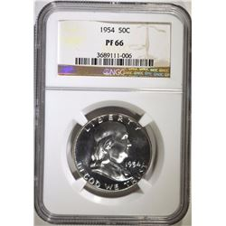 1954 FRANKLIN HALF DOLLAR, NGC PF-66
