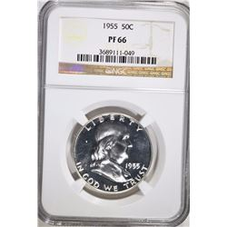 1955 FRANKLIN HALF DOLLAR, NGC PF-66