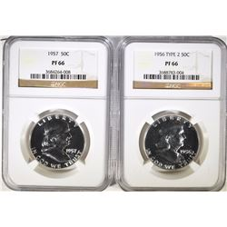 1956 TYPE-2 & 1957 FRANKLIN HALF DOLLARS, NGC PF-66