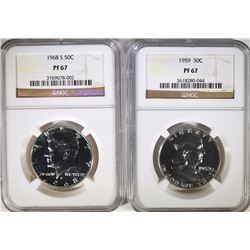1959 FRANKLIN  & 1968-S KENNEDY HALF DOLLARS, NGC  PF-67