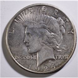 1924-S PEACE SILVER DOLLAR AU KEY DATE