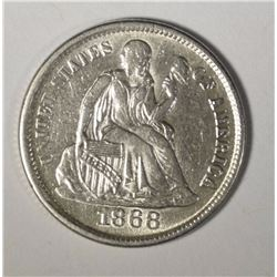 1868-S SEATED LIBERTY DIME AU