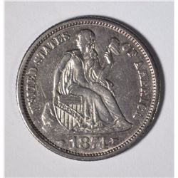 1874 SEATED LIBERTY DIME AU