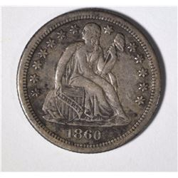1860-S SEATED LIBERTY DIME XF