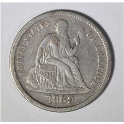 1869-S SEATED LIBERTY DIME VF/XF