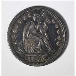 1845 SEATED LIBERTY DIME CH AU TONED