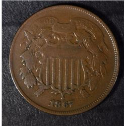 1867 2 CENT DOUBLE MOTTO VG