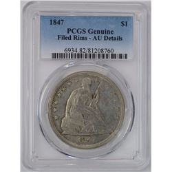 1847 SEATED DOLLAR, PCGS AU, MINOR RIM REPAIR